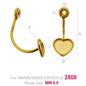 Swing earrings Heart 6MM (base) - HKSV 2808 6MM