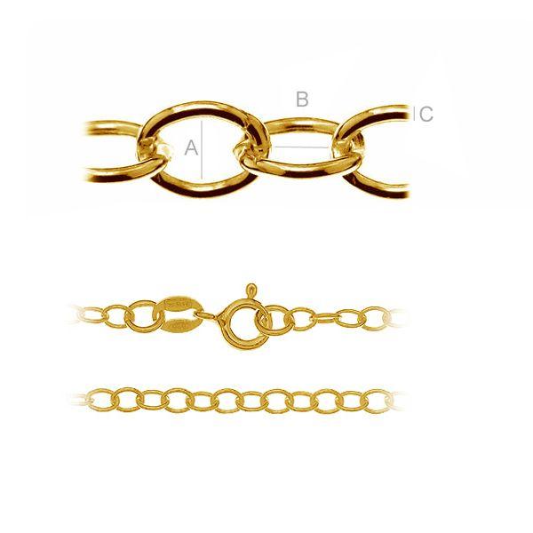 Gold or rhodium round anchor chain - A 050 (38-70 cm)