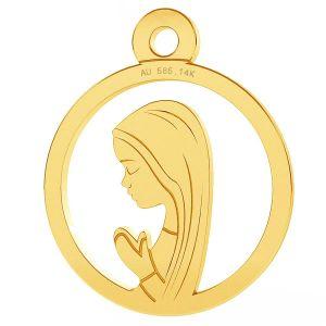 Nuestro medallón de la señora Fatima colgante, oro 14K, LKZ-00661 - 0,30