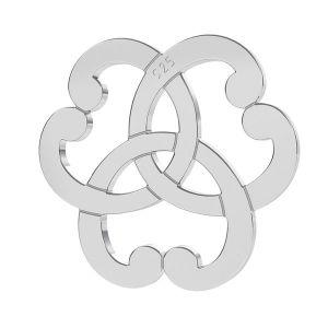Triquetra corazón rosetón colgante, plata 925, LK-1260 - 0,50