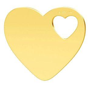 Corazón colgante, oro 14K, LKZ-01304 - 0,30
