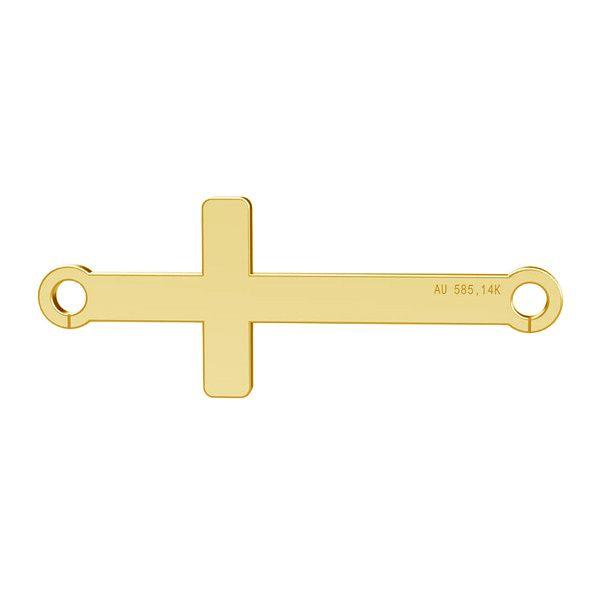 Cruz horizontal colgante, oro 14K, LKZ-00524 - 0,30
