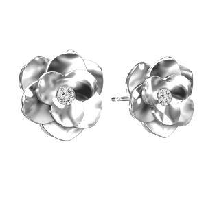 Rosa aretes, plata 925, ODL-00041 KLS - CRYSTAL