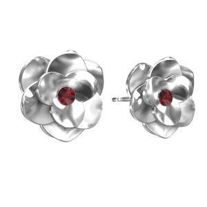Rosa aretes, plata 925, ODL-00041 KLS - SIAM
