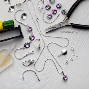 DIY pulsera, plata 925, Swarovski, DIY con SILVEXCRAFT  NO.02001