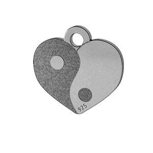 Yin Yang corazón colgante, plata 925, LK-1479 - 0,50