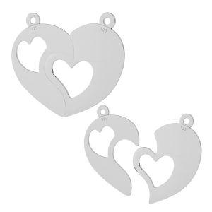 Corazón dividido colgante plata 925, LKM-2046