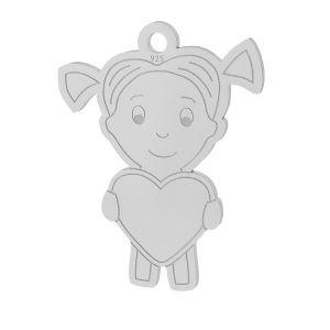 Nniña corazón colgante plata 925, LKM-2047