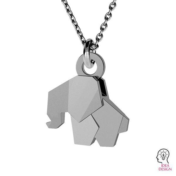 Origami elefante colgante plata, ODL-00433