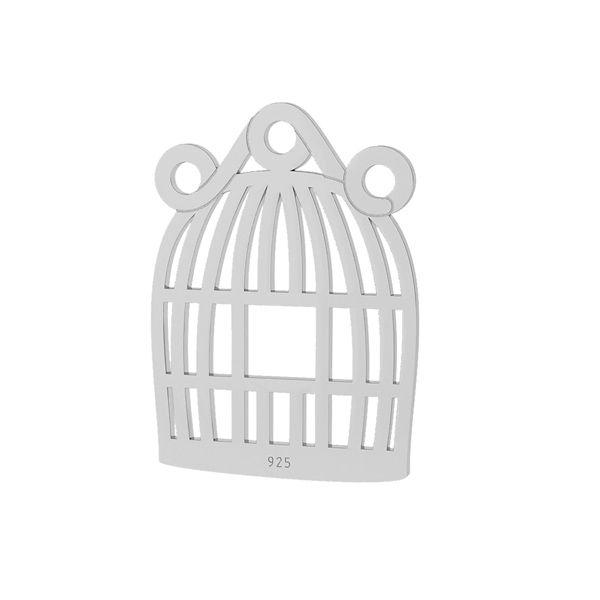 Jaula de pájaros colgante, plata 925, LKM-2094 - 0,50