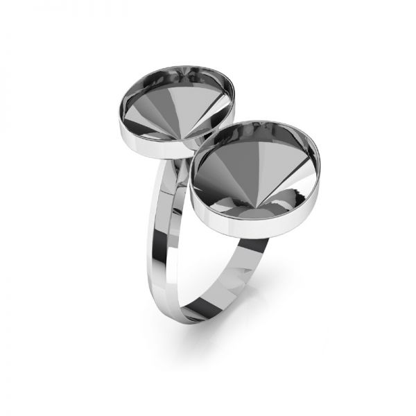 Anillo base de Swarovski Rivoli oval plata, OKSV 4122 MM 14,0 DOUBLE RING