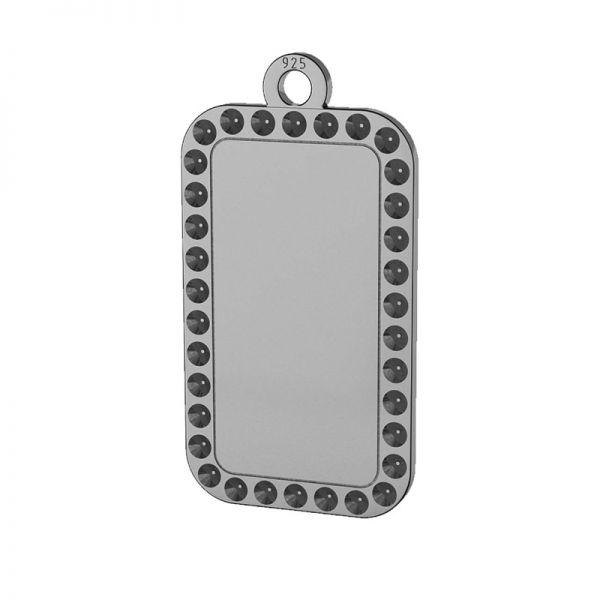 Rectángulo placa de identidad colgante plata 925, LKM-2140 - 0,80 (1028 PP 4)