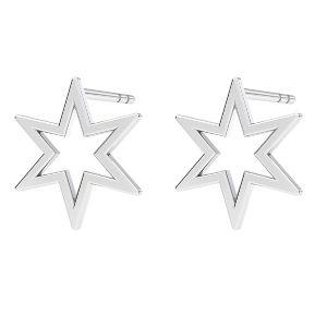 Estrella aretes, plata 925, KLS LKM-2371 - 0,50 9,7x10,9 mm