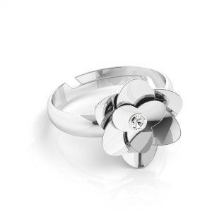 Rosa anillo Swarovski*plata 925*U-RING ODL-00041