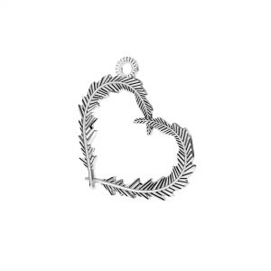 Pluma corazon colgante*plata 925*ODL-00723 18,6x22 mm