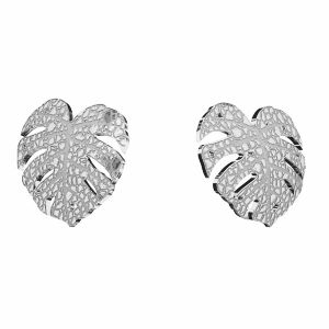 Pendientes de hoja de monstera, plata 925, KLS LKM-2760 - 0,50 10x11,2mm