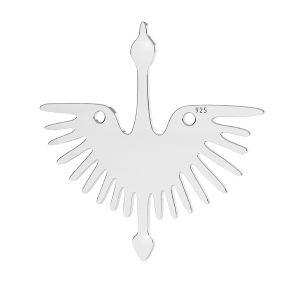 Pájaro colgante, plata 925, LKM-2824 - 0,50 25x25 mm