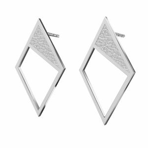 Rombo aretes, plata 925, KLS LKM-2751 - 0,50 11x19,2 mm
