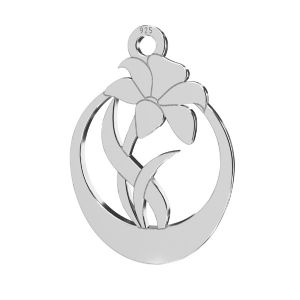 flor colgante, plata 925, LKM-2208 - 0,50 14,1x20 mm