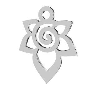 flor colgante, plata 925, LKM-2217 - 0,50 12,6x15,6 mm