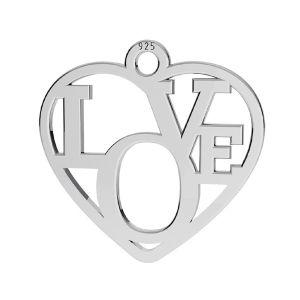 Corazón colgante ,plata 925, LK-2677 - 05 15,5x16 mm