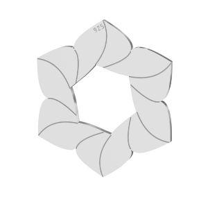 Flor colgante, plata 925, LKM-2788 - 0,50 14,7x17 mm
