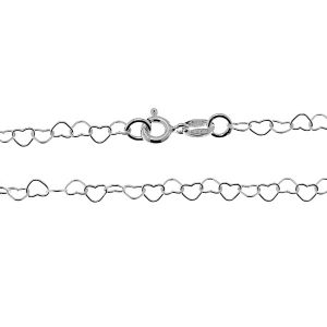 Cadena de corazones, plata 925, SRC 045 45 cm